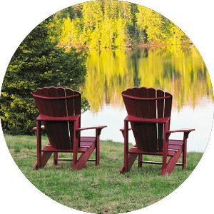Thunderstock Outfitters Adirondack Chairs Over looking lake